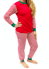 988-F18 Red, White and Green Knit Unisex Loungewear