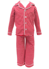 9131-H18 Red and White Stripes Button Up Knit Boy's Loungewear