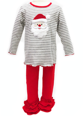 977-F18 Applique Santa Red & Grey Girl's Legging Set