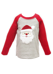978-F18 Applique Santa Red & Grey Boy's T-Shirt