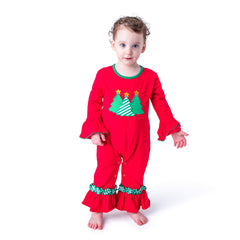 47H20 Christmas Tree Applique Baby Girl Romper