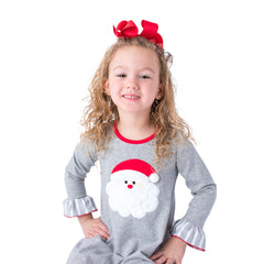 55L20 Santa Applique Girl's Christmas Gown L/S