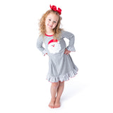 Applique Santa Gray Girl's Christmas Gown