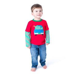 49H20 Christmas Tree Applique Boy's T-Shirt