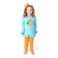 19F20 Pumpkin Applique Girl's Pants Set