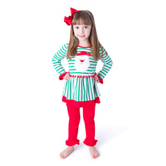 42H20 Santa Applique Girl's Pants Set