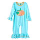 Applique Pumpkin Girl's Rompere