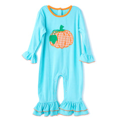 20F20 Pumpkin Applique Baby Girl Romper