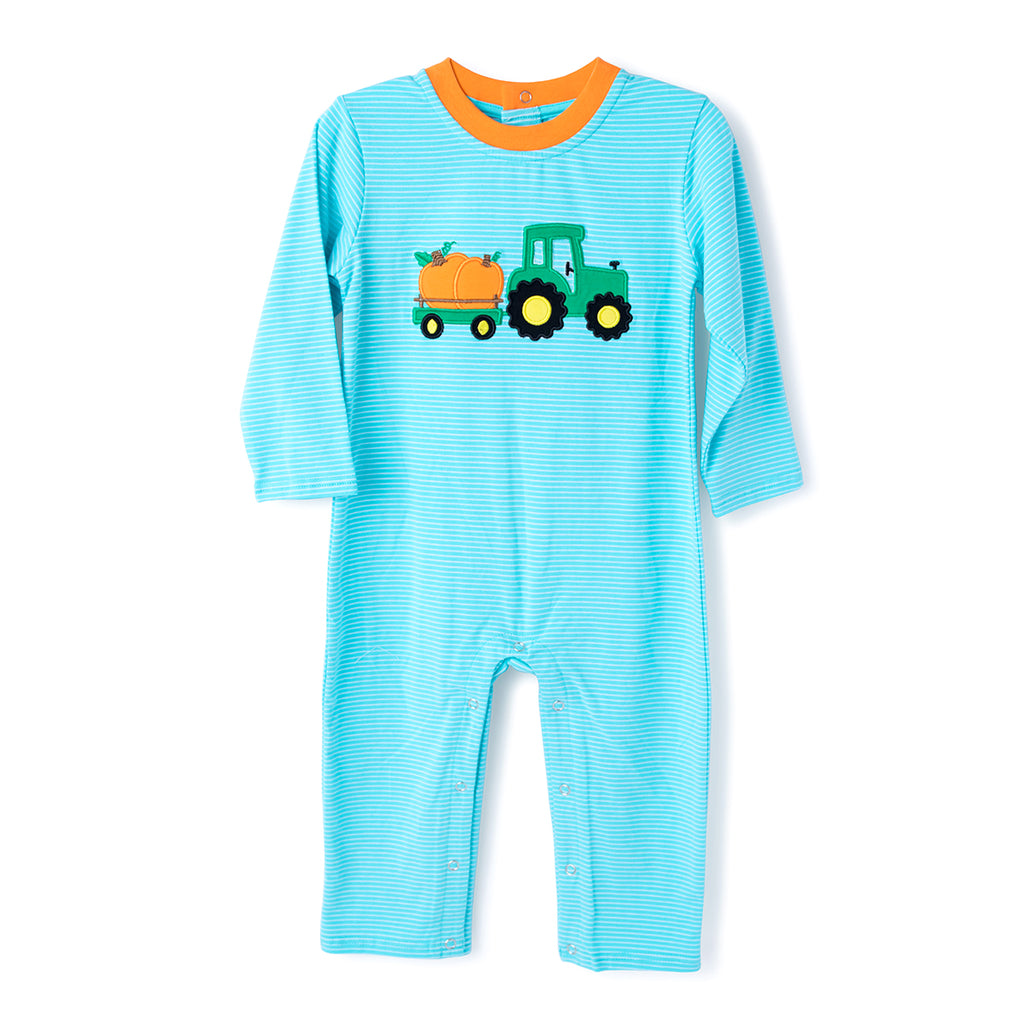 Applique Tractor with Pumpkin Boy
