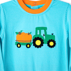 21F20 Tractor with Pumpkin Applique Boy's Romper