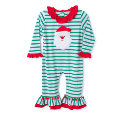 43H20 Santa Applique Baby Girl's Romper