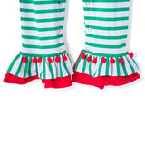 Showing Ruffles on the Legs of the Applique Santa Romper