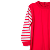 Red Baby Romper with Stripes Long Sleeves