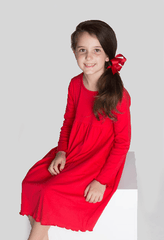 9120-H18 - Red Knit Long Sleeve Girl's Dress