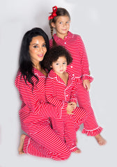 Family Red and White Stripes Button Up Knit Loungewear