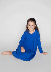 9126H18 - Royal Blue Knit Long Sleeve Girl's Dress
