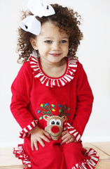 83-F18 Applique Christmas Reindeer Gown Loungewear