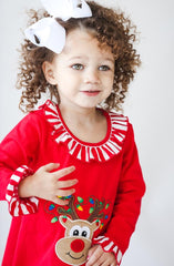 983-F18 Applique Christmas Reindeer Gown Loungewear