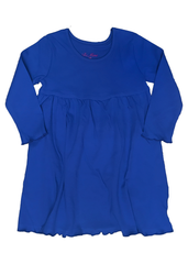 126H18 - Royal Blue Knit Long Sleeve Girl's Dress