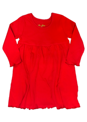 120H18 - Red Knit Long Sleeve Girl's Dress