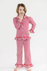 90-F18 Red and White Stripes Button Up Knit Girl's Loungewear
