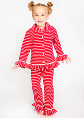 9130-H18 Red and White Stripes Button Up Knit Girl's Loungewear