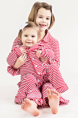 91-F18 Red and White Stripes Button Up Knit Boy's Loungewear
