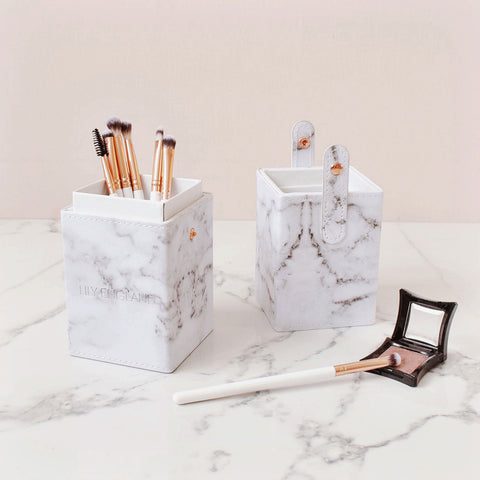 brush pot holder organise your vanity table marble