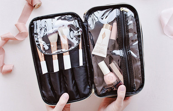 black makeup bag organiser