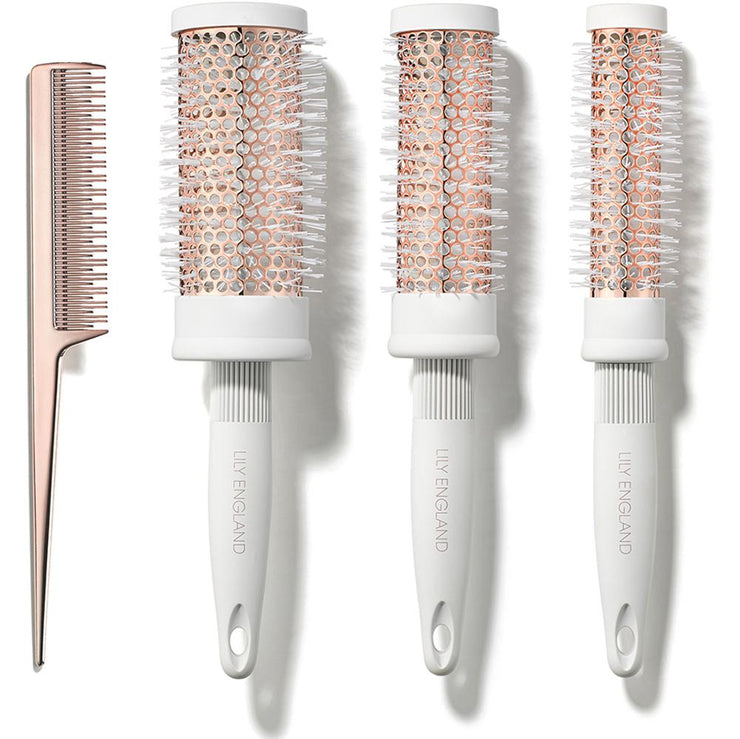 Round Barrel Brush and Comb Set - Rose Gold