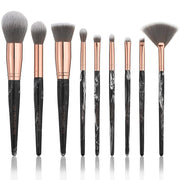 The Marble Luxe Makeup Brush Set & Bag - Black & Rose Gold