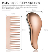 Detangling Hair Brush and Comb Set - Rose Gold