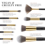 The Marble Luxe Makeup Brush Set & Bag - Black & Gold
