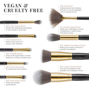 Marble Luxe 9 Piece Makeup Brush Set - Black & Gold
