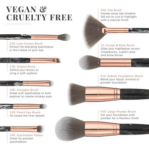 Marble Luxe 9 Piece Makeup Brush Set - Black & Rose Gold