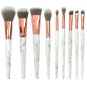Marble Luxe Makeup Brush Set & Case - White & Rose Gold