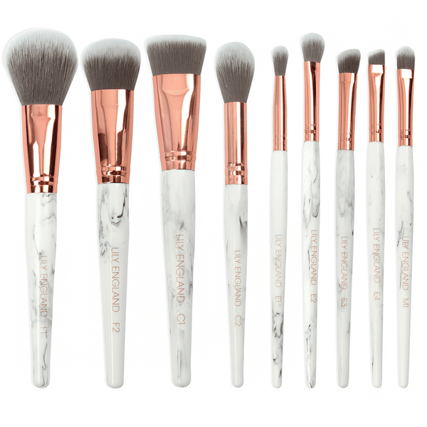 The Marble Luxe Makeup Brush Set And Brush Holder Pot