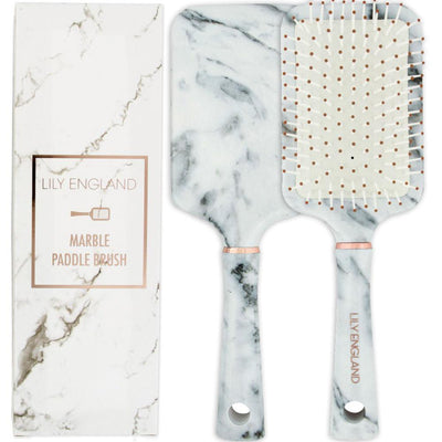 Paddle Hair Brush - Marble & Rose Gold