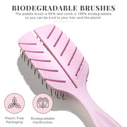 Eco Kind Paddle Brush and Comb Set - Pink