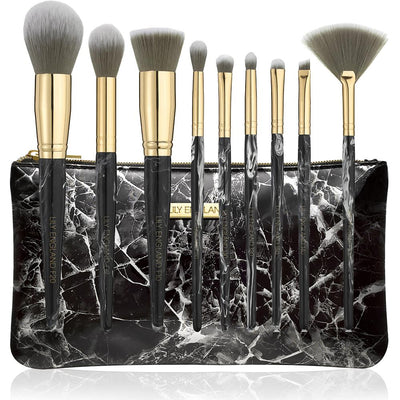 Marble Luxe Makeup Brush Set - Black & Gold