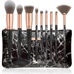 black marble makeup brush set