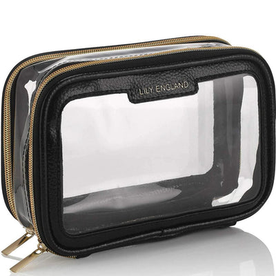 Clear Travel Makeup Bag - Black & Gold
