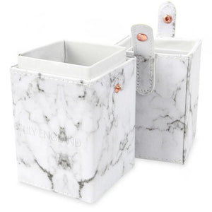 Makeup Brush Holder Pot - Marble & Rose Gold