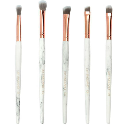 Luxe 5 Piece Eye Makeup Brush Set - Marble & Rose Gold