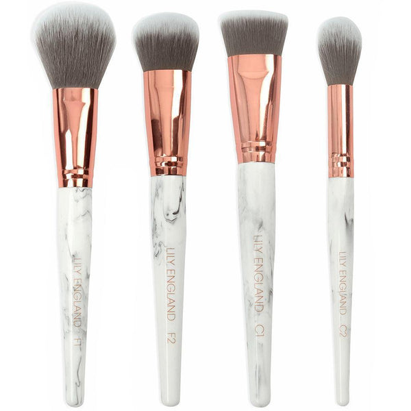 4 Piece Face Makeup Brush Set - Marble & Rose Gold