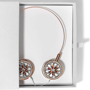 Jewelled Headphones Over Ear With Microphone - Rose Gold