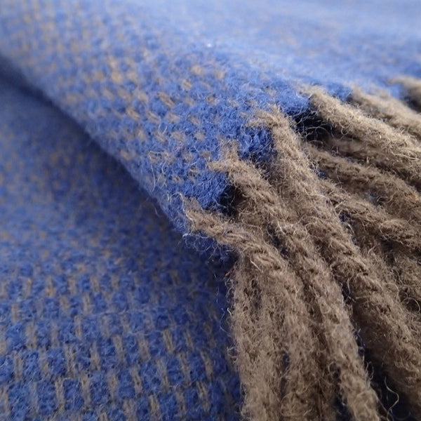 Elegant Blue and Brown Sofa Throw