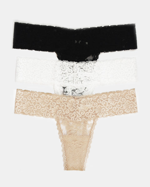 Set of 3 Lace Thongs // Black, White & Nude