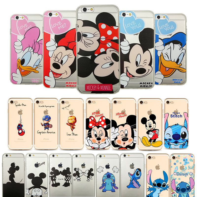 timeless design e5ccf 05ce5 Cartoon Mickey Minnie Mouse Hero Stitch Soft Clear Phone Case For All Apple  iPhones 6 to X