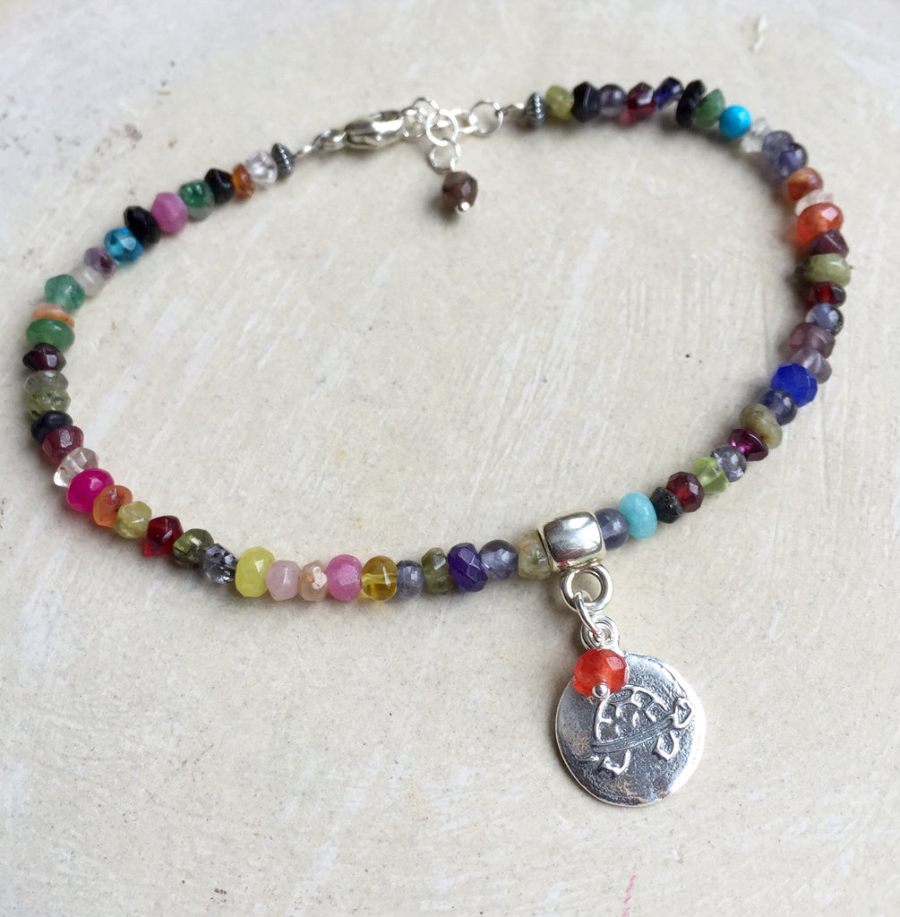 Rainbow Turtle Gemstone Bracelet - Online Only